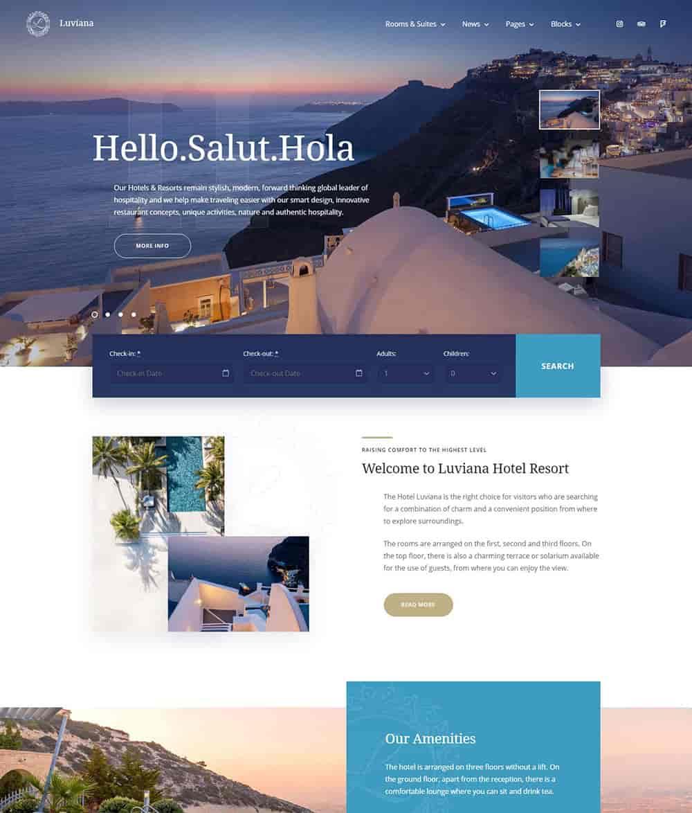 30+ WordPress Gutenberg Themes 2020 - Luviana wordpress hotel theme min