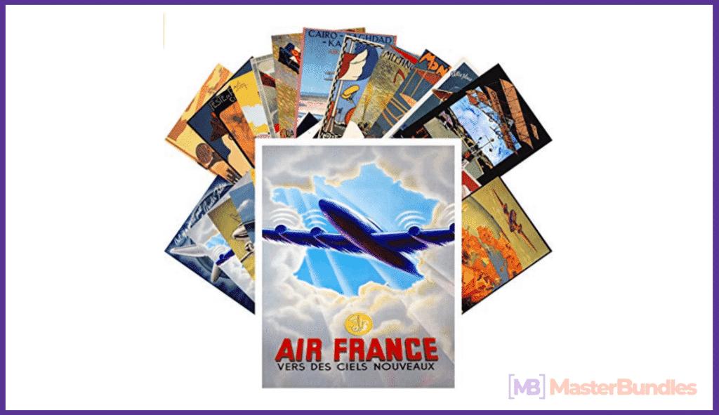Postcard Set 24 cards Vintage Travel Posters Aviation Planes European.