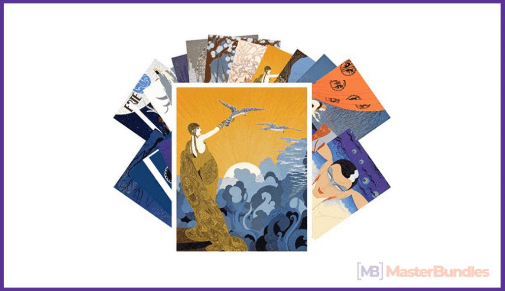 Postcard Set 24 cards Erte Vintage Painting Art Deco by Pixiluv.