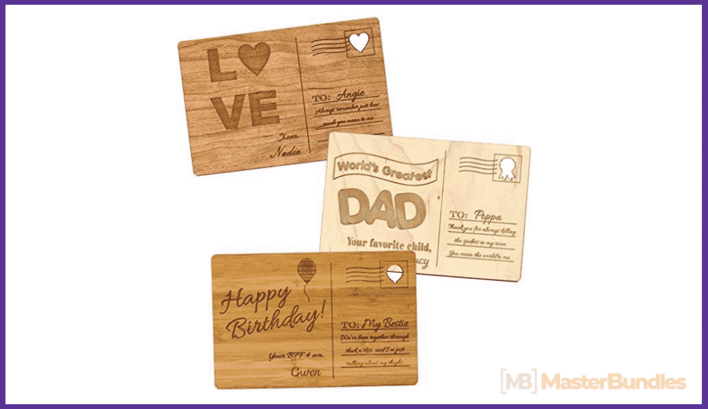 Personalized Wooden Postcards for Birthdays, Anniversaries, Mother's Day, Father's Day, Holidays.
