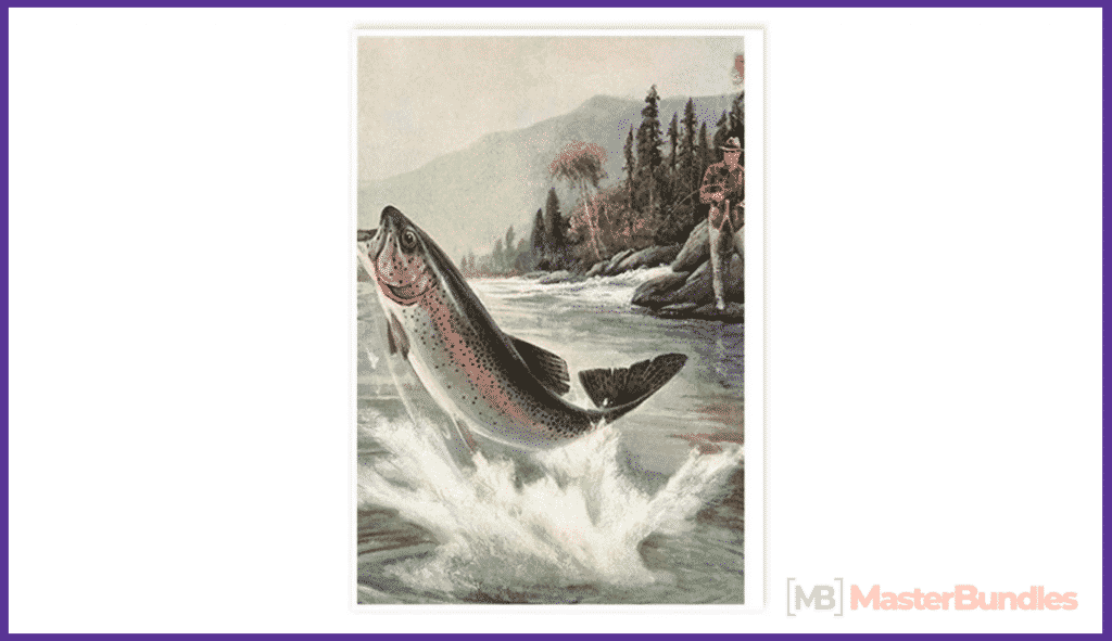 CafePress Vintage Fishing, Rainbow Postcards (Package of 8).