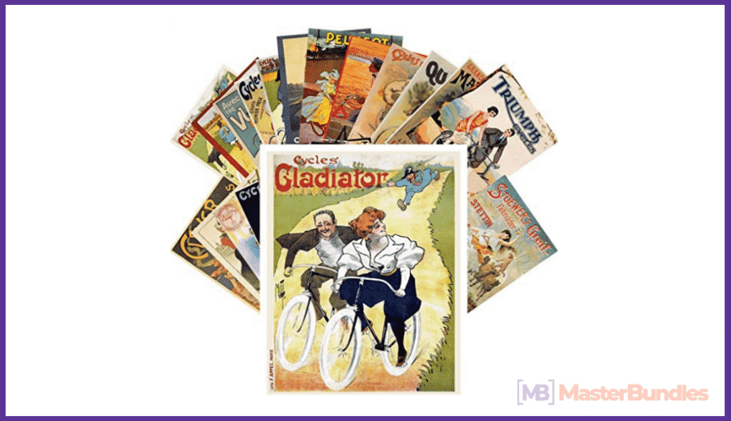 Postcard Set 24pcs Bikes Cycling Vintage Ads Posters Art Deco.