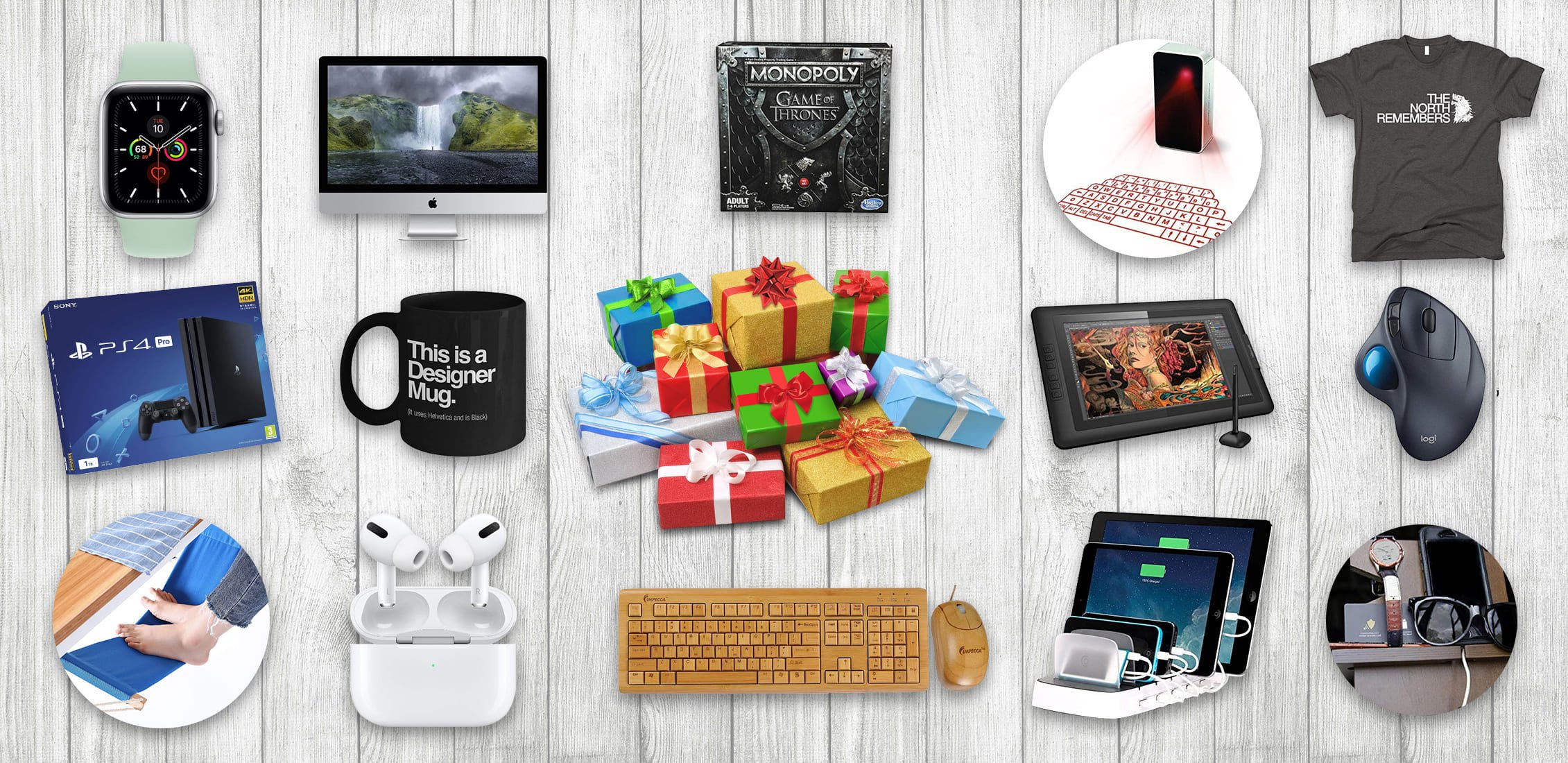 Сool gifts for a graphic designers, which are located on light boards