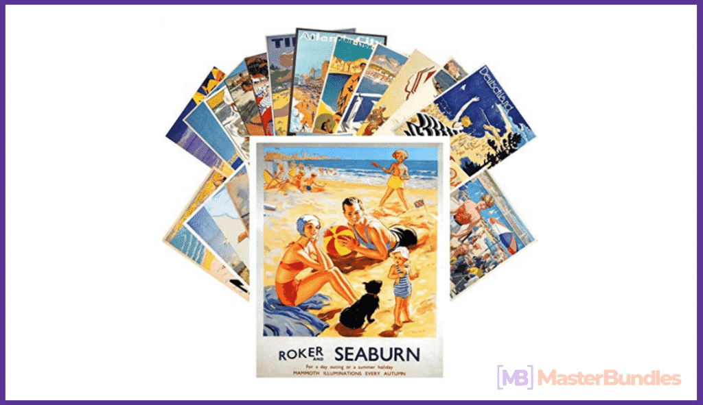 Postcard Set 24 cards Vintage Travel Posters Beach Holidays.