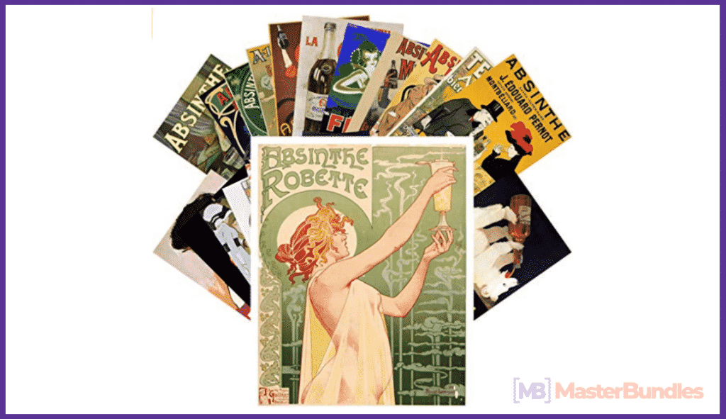 Postcard Set 24pcs Absinthe Campari Vintage Alcohol Advert Posters Art Deco Ad