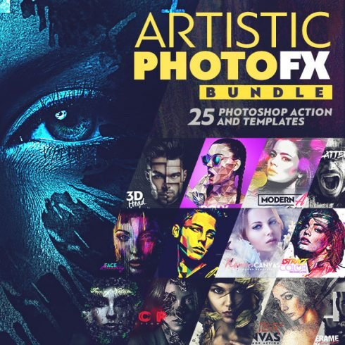 The Best Pure Photoshop Actions Bundle 2020 - Artistic Photo FX Bundle Cover Image 1 600x600px 490x490