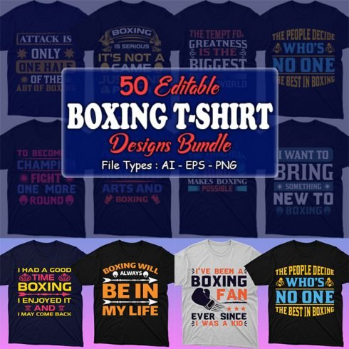 50 Boxing Shirt Designs Bundle: Sport Shirt Design - MB 1 2 490x490