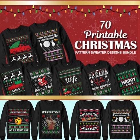 70 Printable Ugly Christmas Sweater Design Bundle - MB 1 490x490