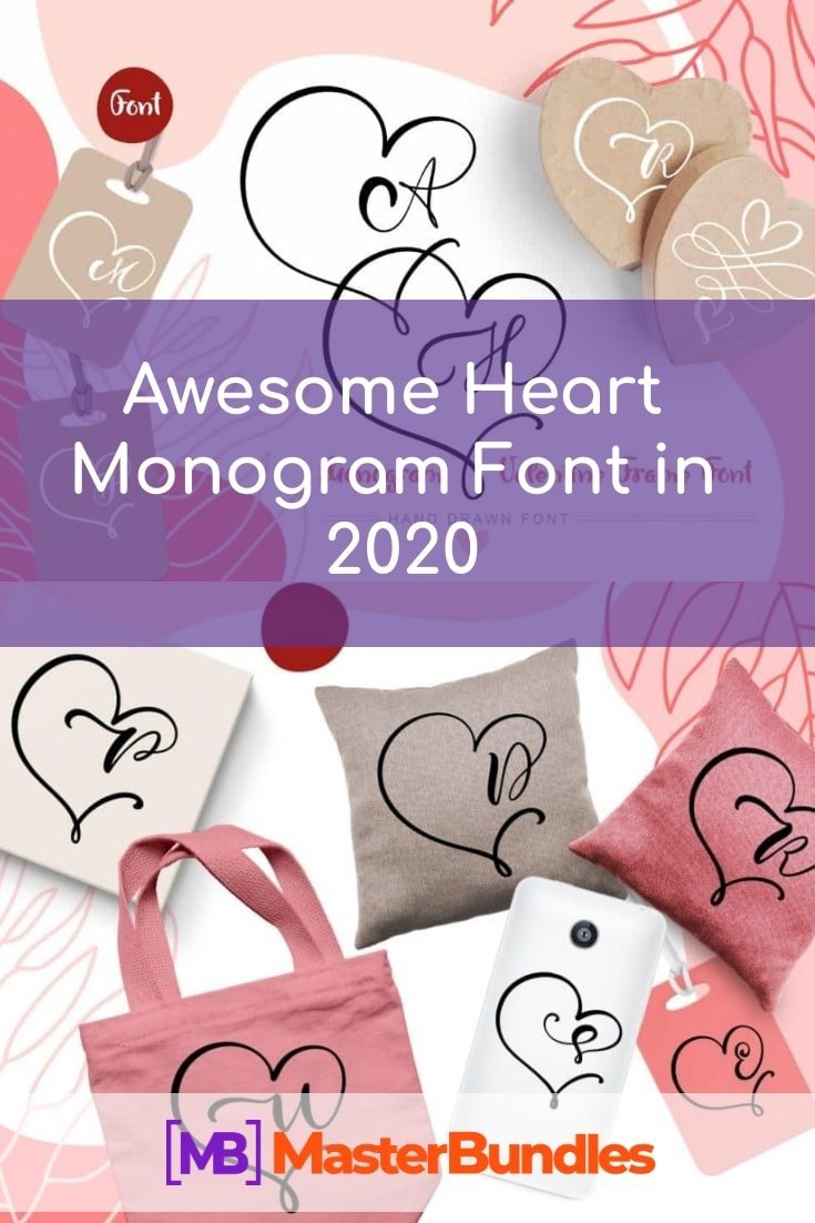 Awesome Heart Monogram Font in 2020 - awesome heart monogram font pinterest