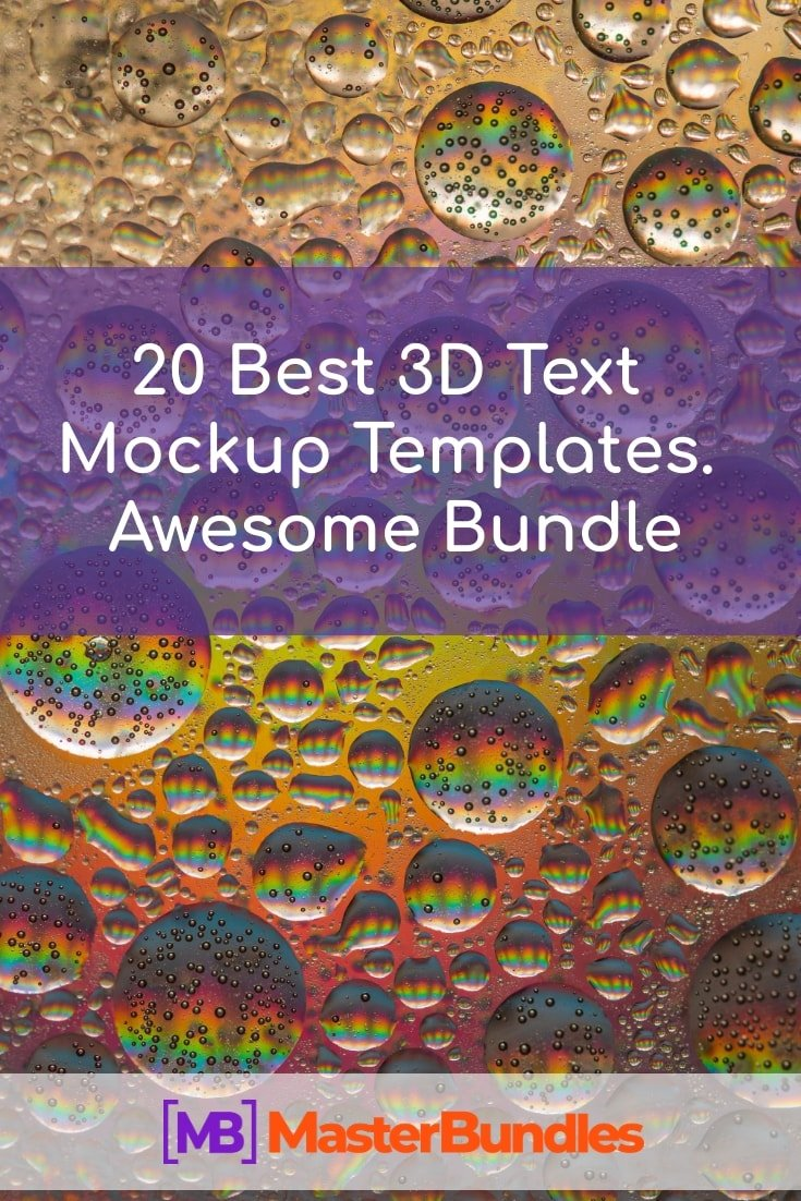 20 Best 3D Text Mockup Templates. Awesome Bundle. Pinterest Image.