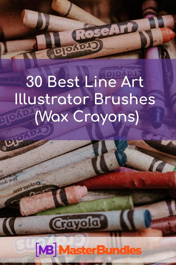 30 Best Line Art Illustrator Brushes (Wax Crayons). Pinterest Image.