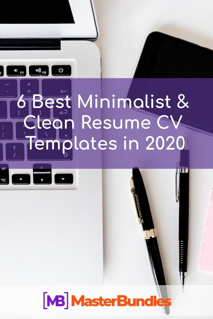 6 Best Clean Resume CV Templates in 2020. Pinterest Image.