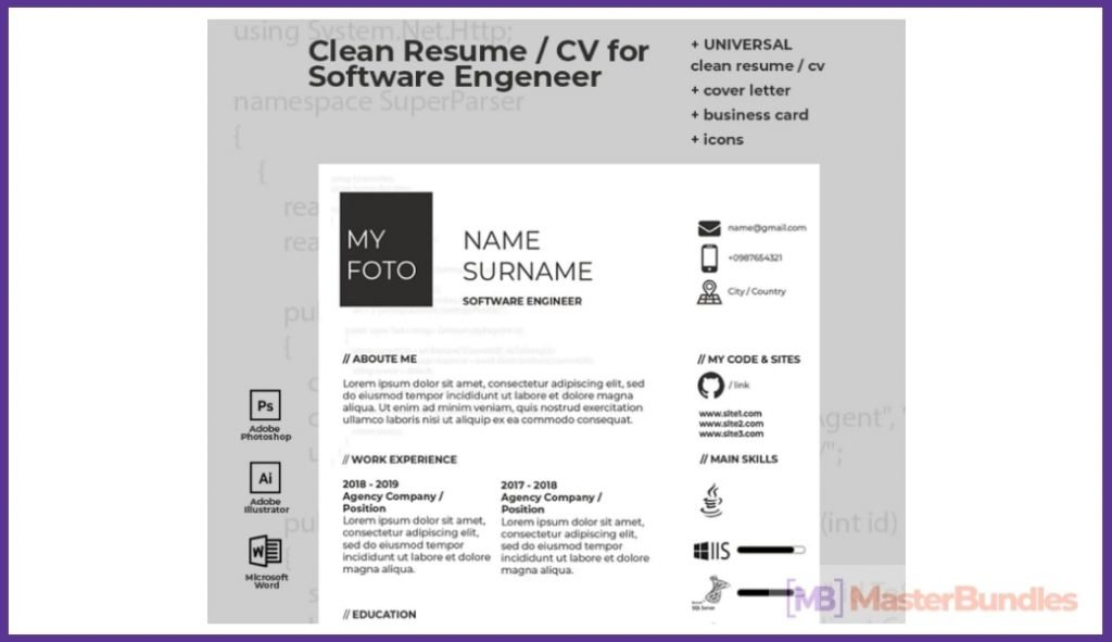 50+ Best Chronological Resume Templates in 2020: Free and Premium - chronological resume templates 04