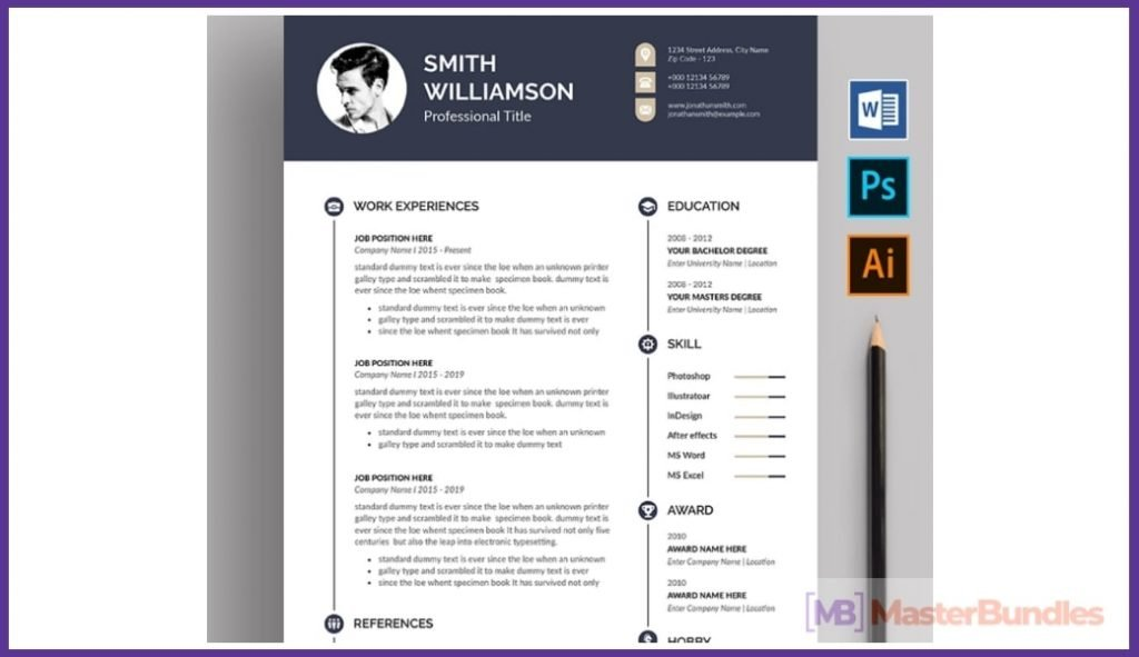 50+ Best Chronological Resume Templates in 2020: Free and Premium - chronological resume templates 07