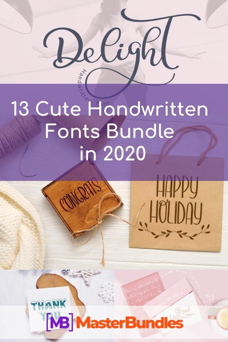 13 Cute Handwritten Fonts Bundle in 2020. Pinterest Image.