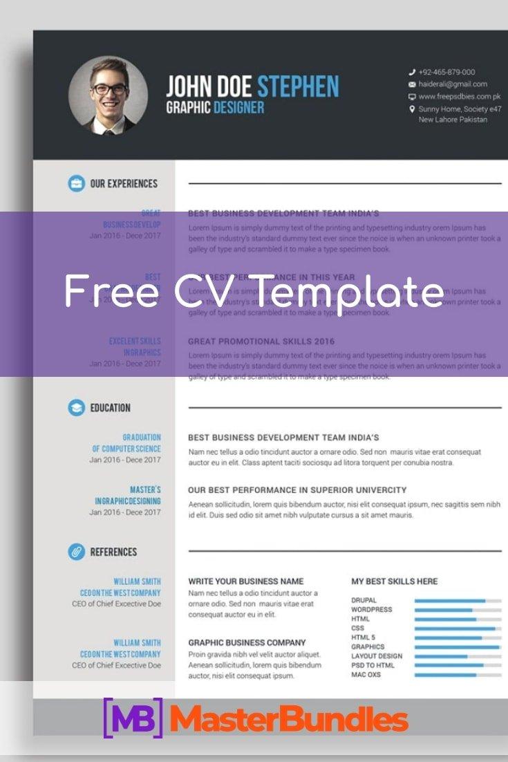 Free CV Template. Pinterest Image.