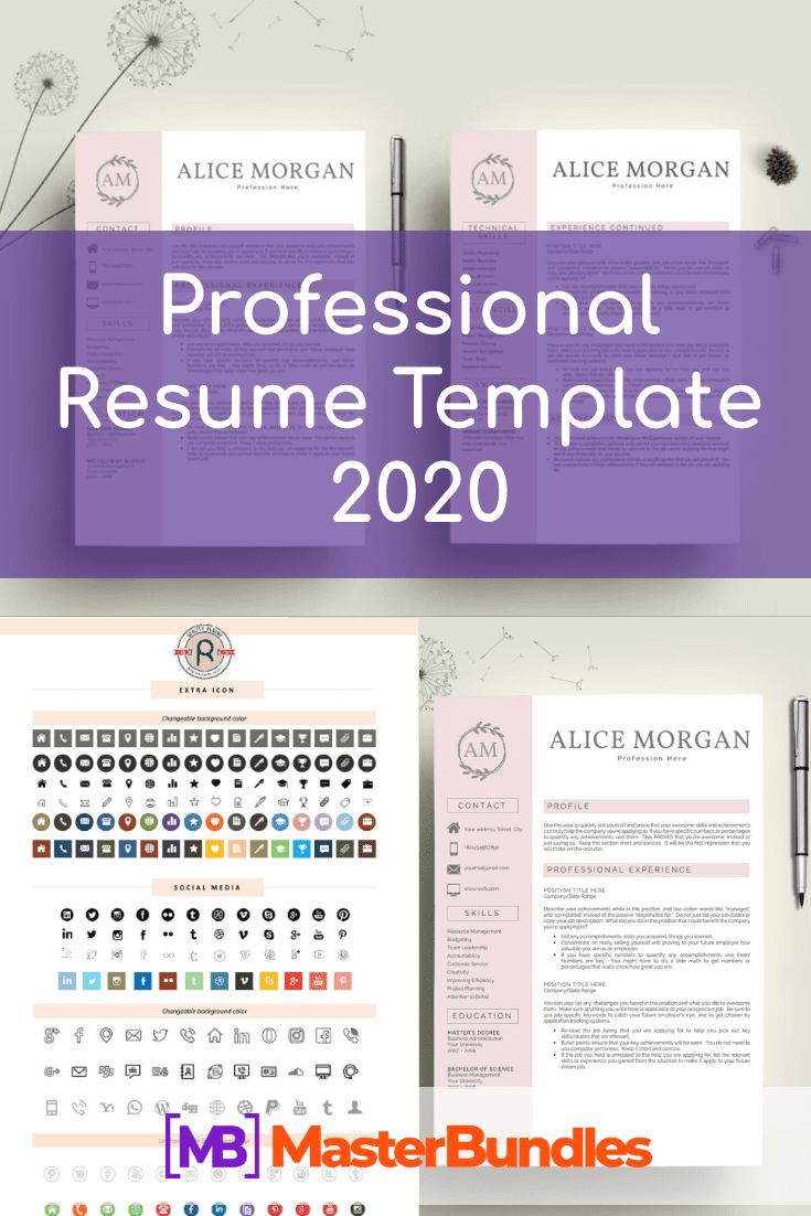 Professional Resume Template 2020. Clean Resume Template – Only $9! - professional resume template pinterest
