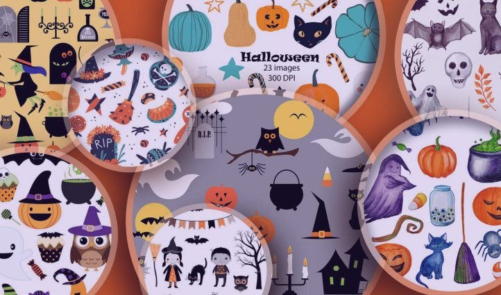 Examples of Halloween clipart.