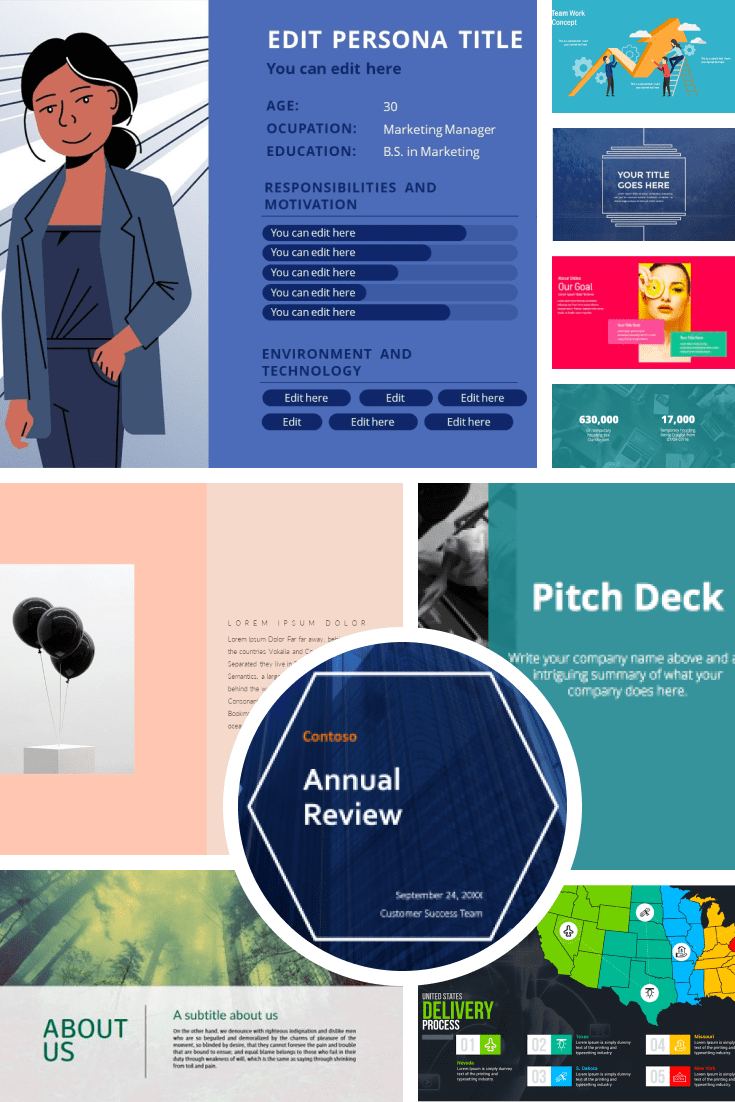 Creative Powerpoint Templates. Free and Premium Pinterest Collage.