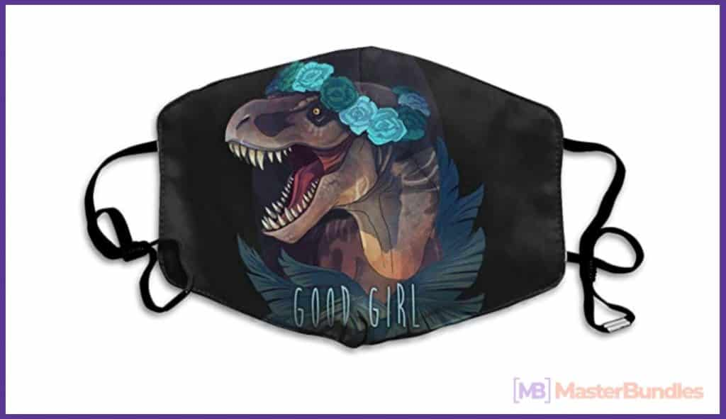 60+ Best Medical Face Masks With Designs in 2021 - dinosaur mask with design 01