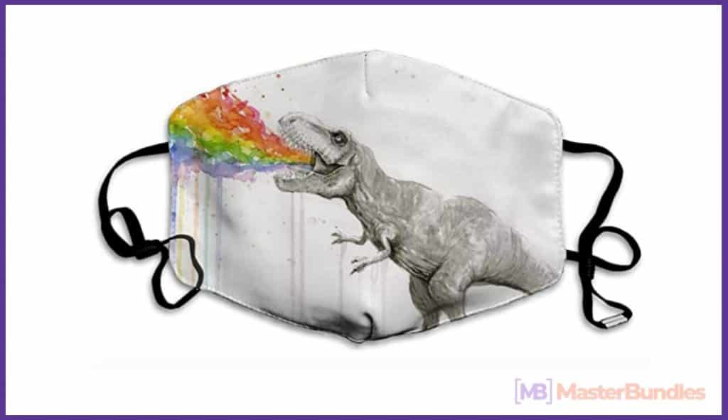 60+ Best Medical Face Masks With Designs in 2021 - dinosaur mask with design 02