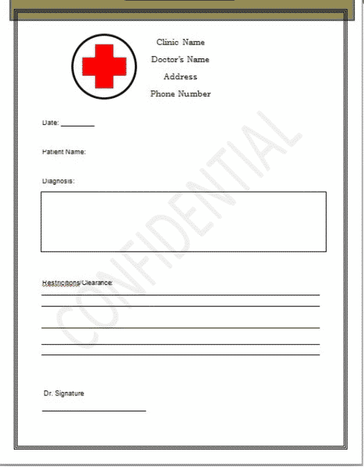 45+ Best Doctor Note Templates and Certificates in 2020: Free and Premium - doctor note templates 04