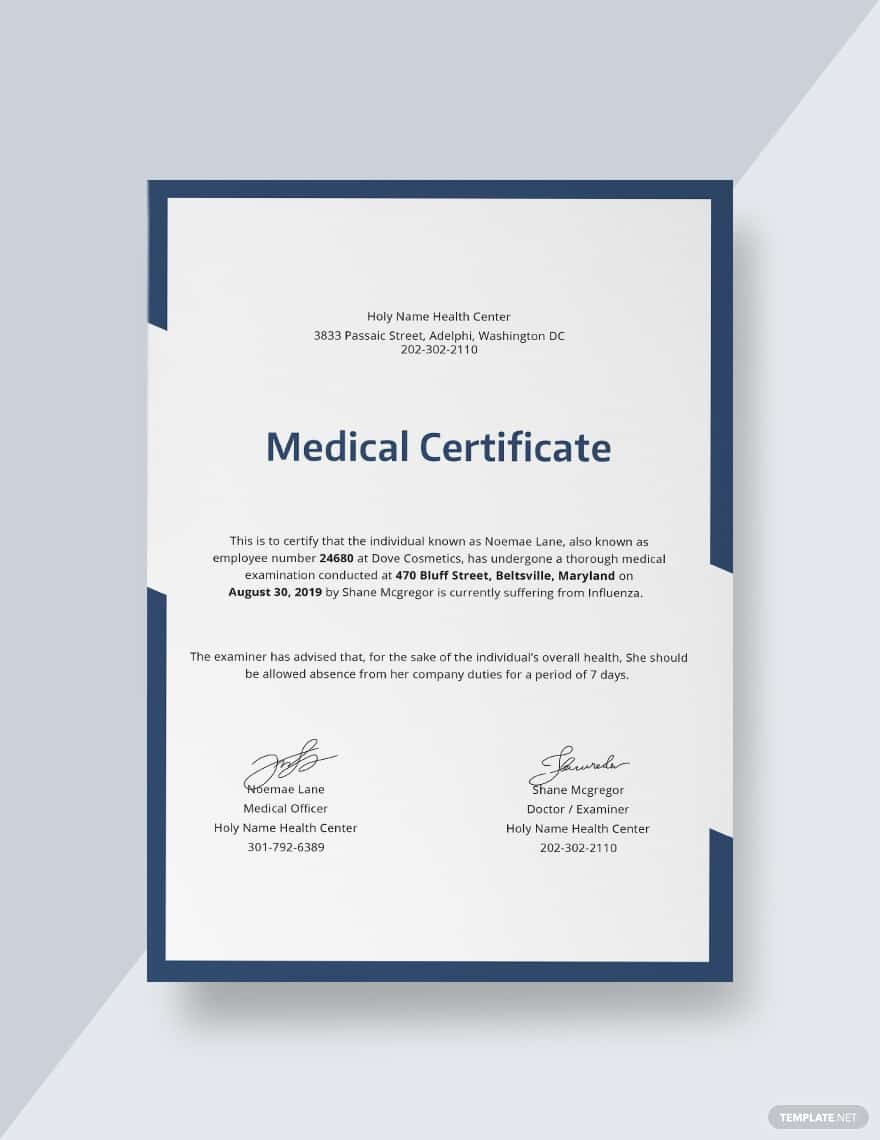 45+ Best Doctor Note Templates and Certificates in 2020: Free and Premium - doctor note templates 07