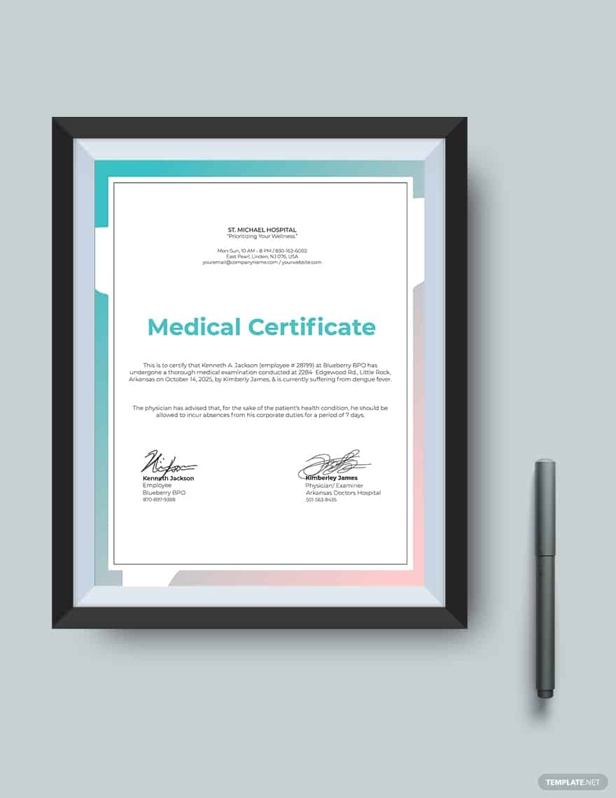 45+ Best Doctor Note Templates and Certificates in 2020: Free and Premium - doctor note templates 08