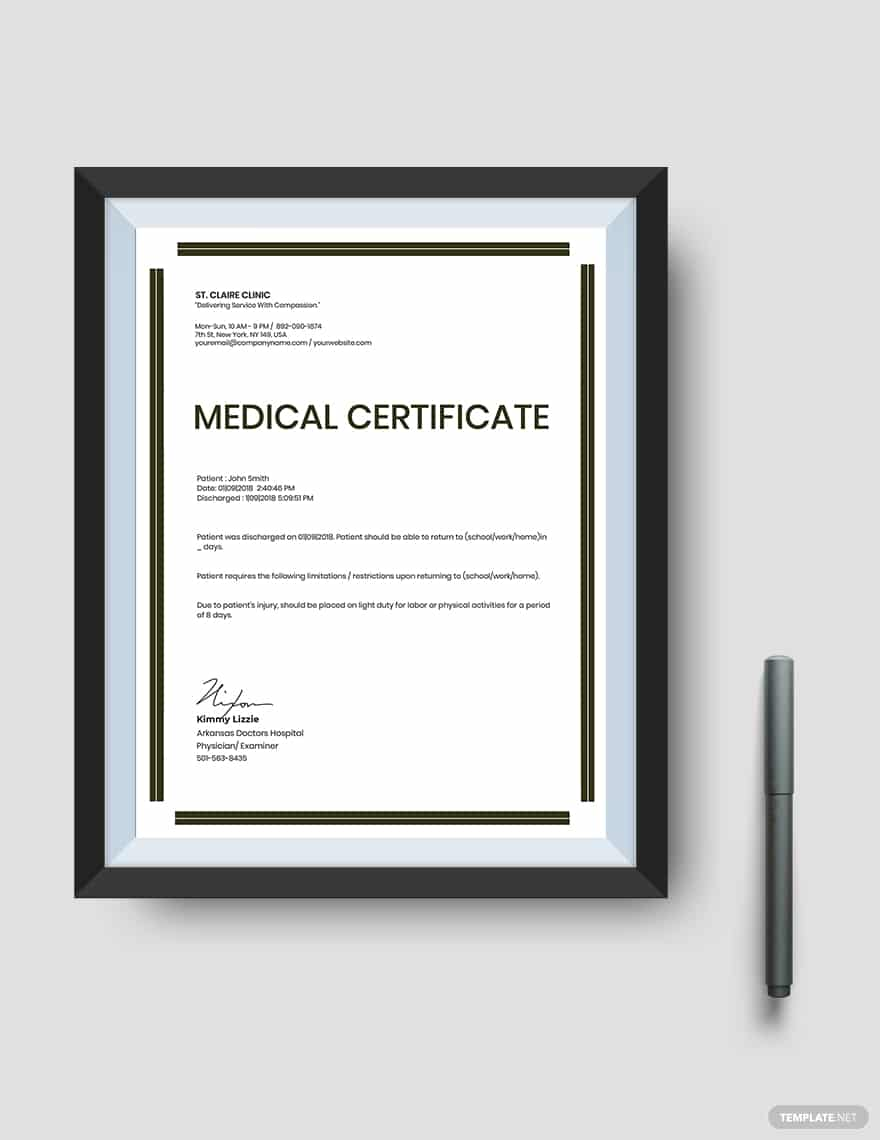 45+ Best Doctor Note Templates and Certificates in 2020: Free and Premium - doctor note templates 11