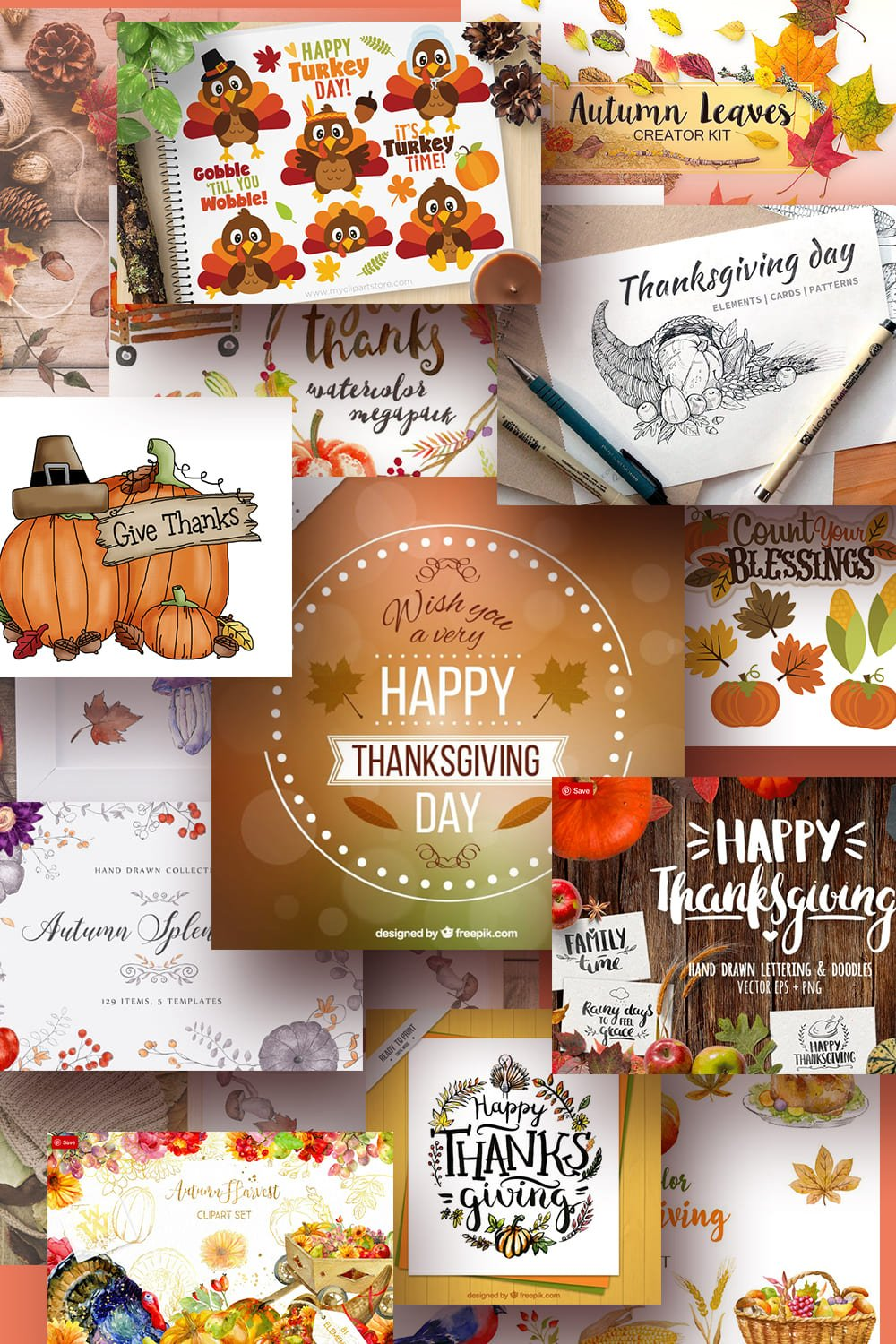 Thanksgiving Clipart Pinterest Image.