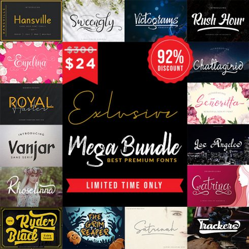 MEGA BUNDLE Abstract Fonts! Best Premium Font Collections OTF, TTF Format Download - Bundle 690x690 490x490