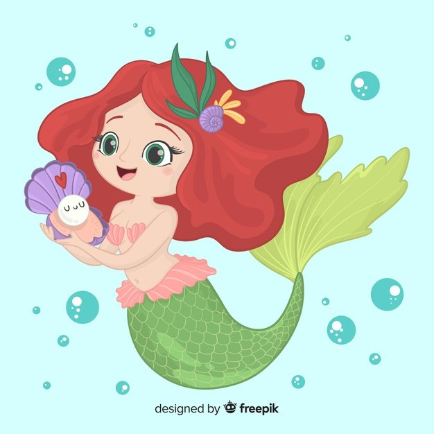 How to Make and Sell Stock Vectors and Photos: an All-in-One Guide - Hand drawn smiling mermaid character