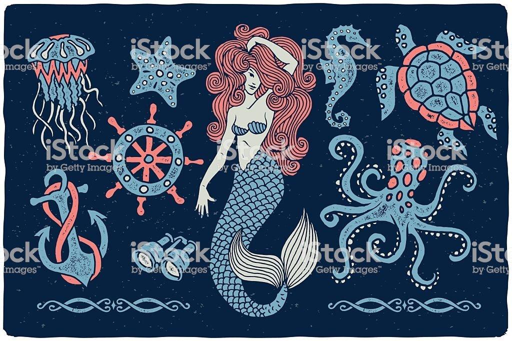 50+ Handpicked Mermaid Clipart 2020: Mermaid Tail Clipart, Vectors, Watercolors - Marine illustrations set