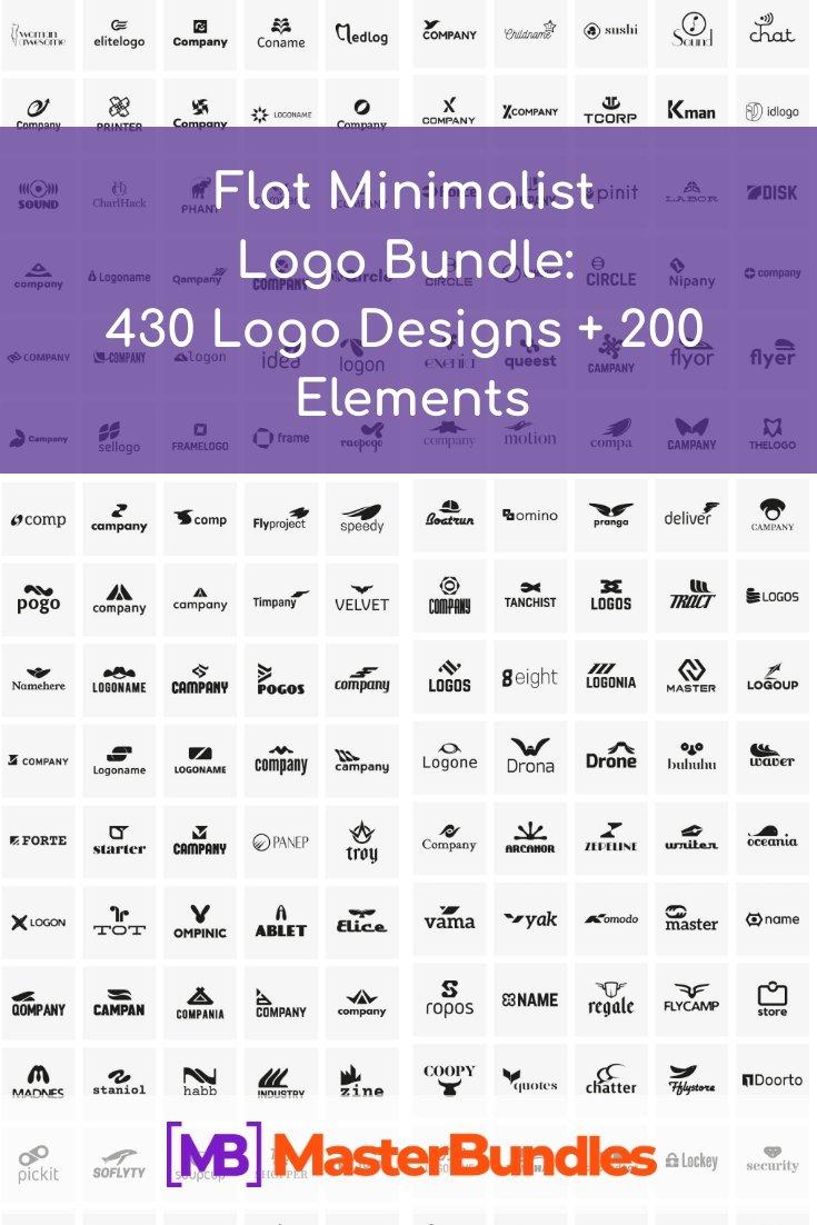Flat Minimalist Logo Bundle. Pinterest Image.