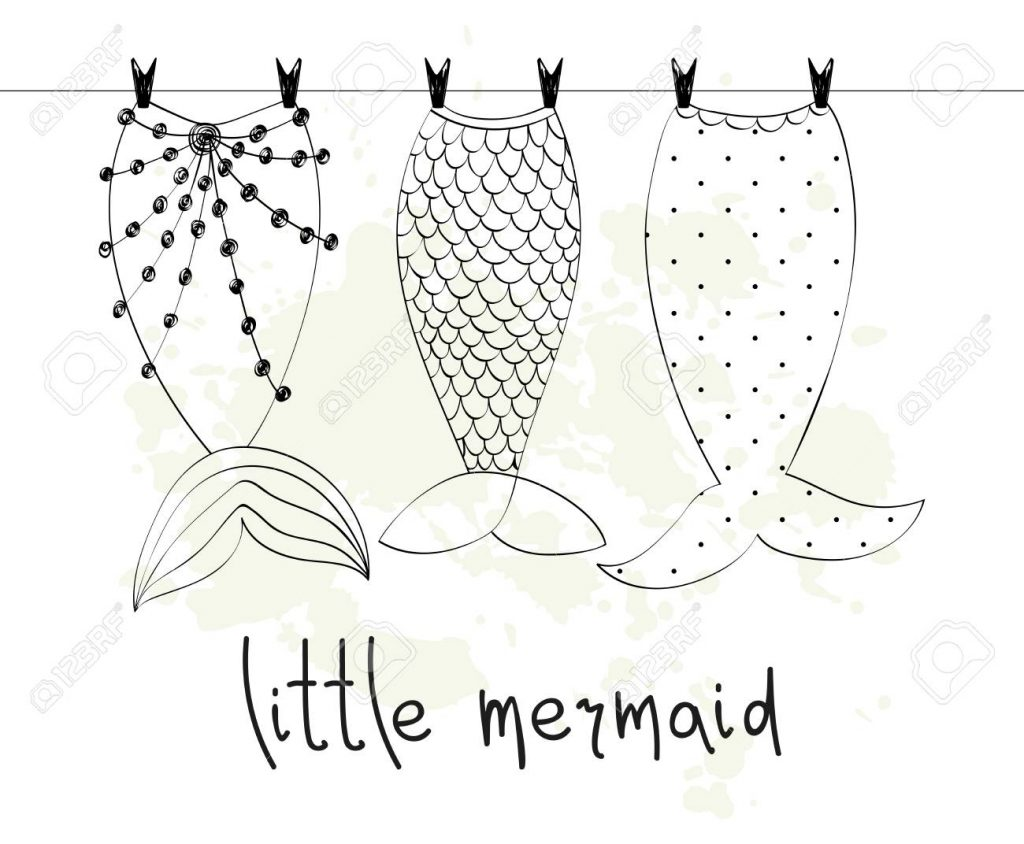50+ Handpicked Mermaid Clipart 2020: Mermaid Tail Clipart, Vectors, Watercolors - Vector hand drawn illustration with mermaid tails