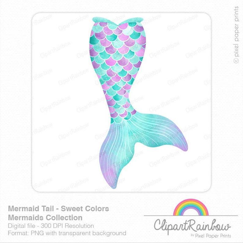50+ Handpicked Mermaid Clipart 2020: Mermaid Tail Clipart, Vectors, Watercolors - Watercolor mermaid tail clipart
