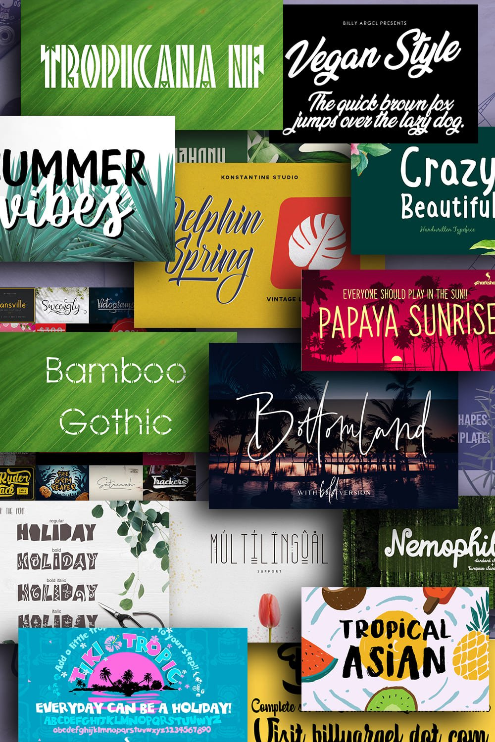 Examples Tropical Fonts. Pinterest Image.