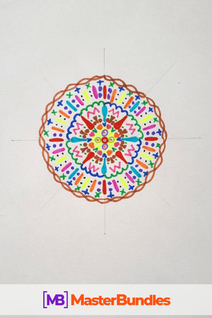 How to Draw a Mandala. Step 6.