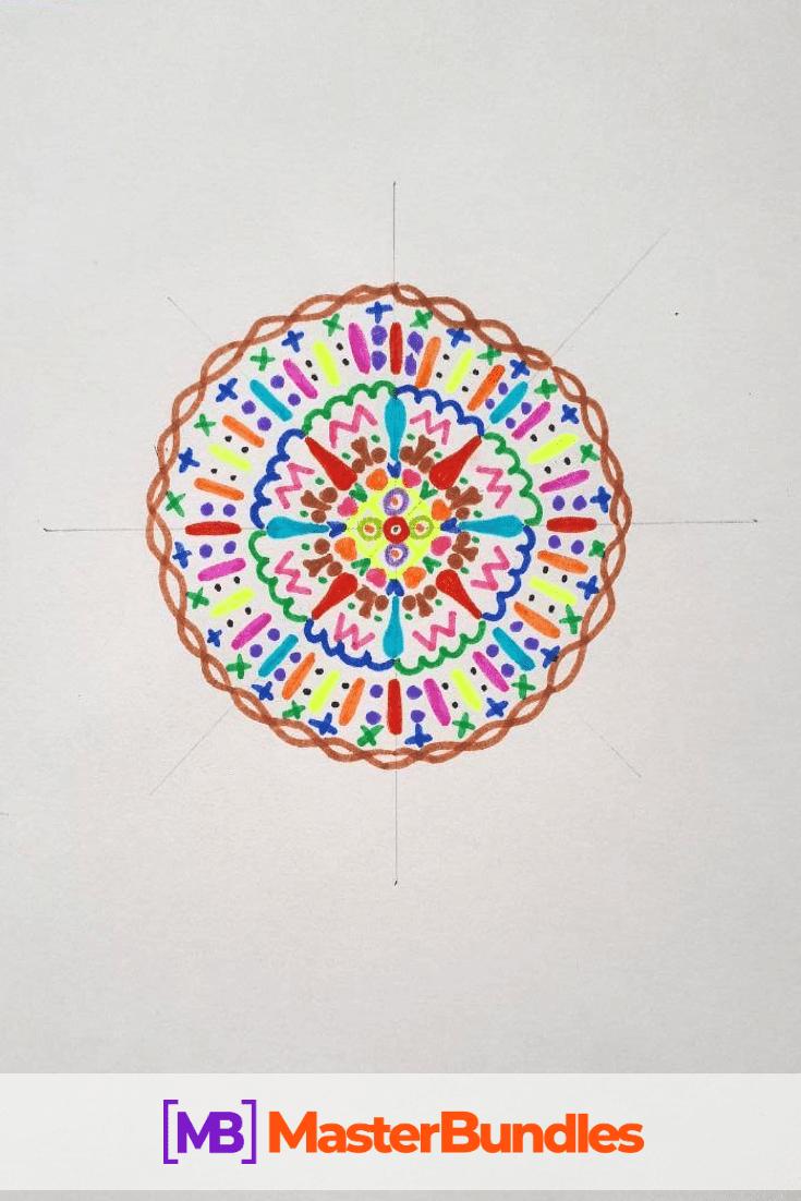 How to Draw a Mandala. Step 6.