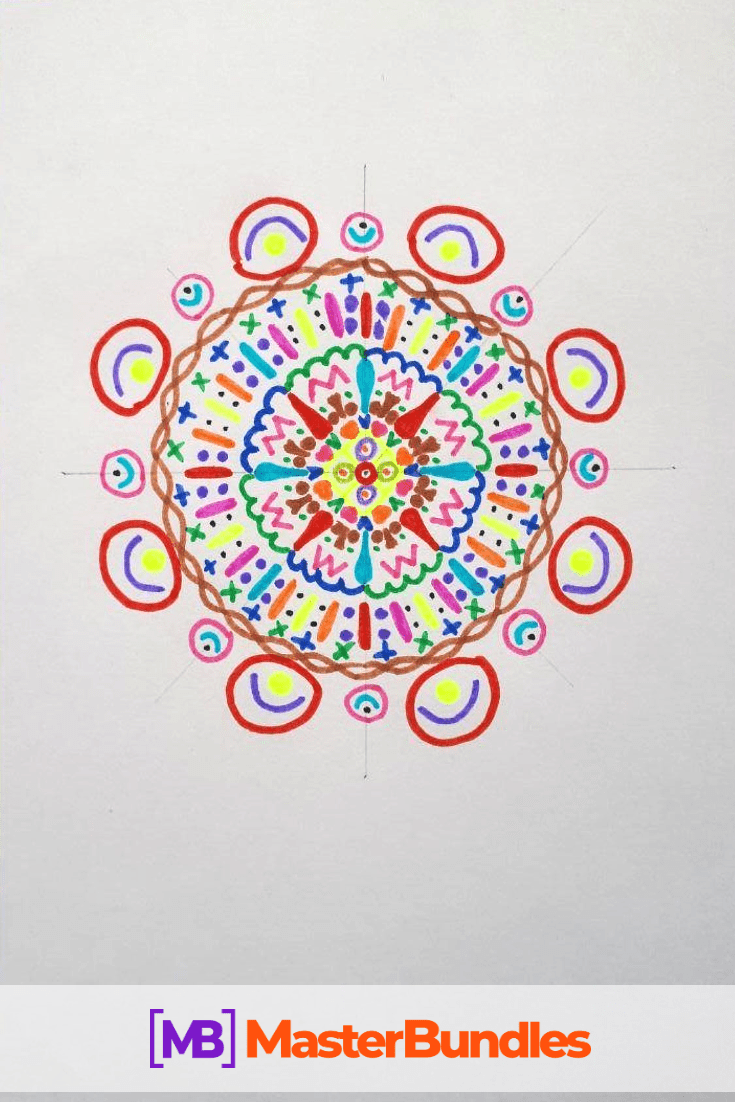 How to Draw a Mandala. Step 7.
