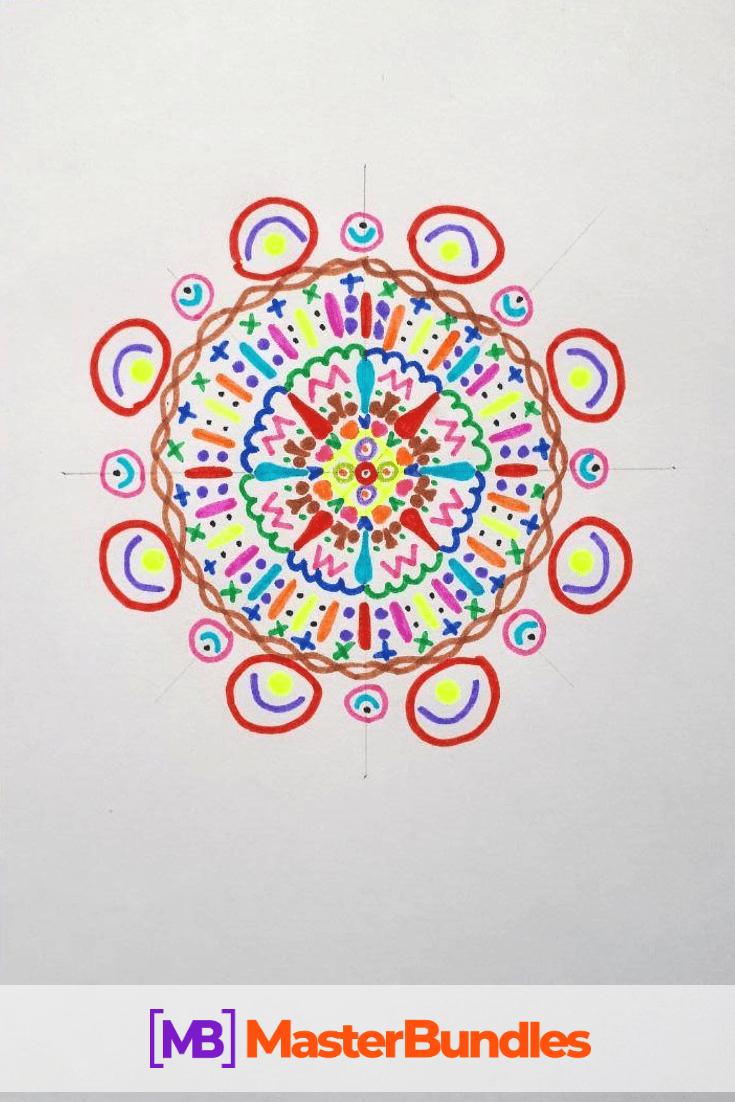 How to Draw a Mandala. Step 7.