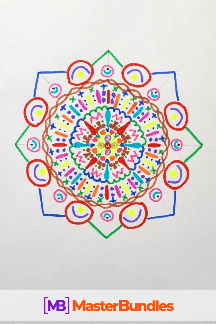 How to Draw a Mandala. Step 8.