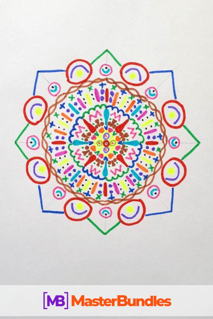 How to Draw a Mandala. Step 8.