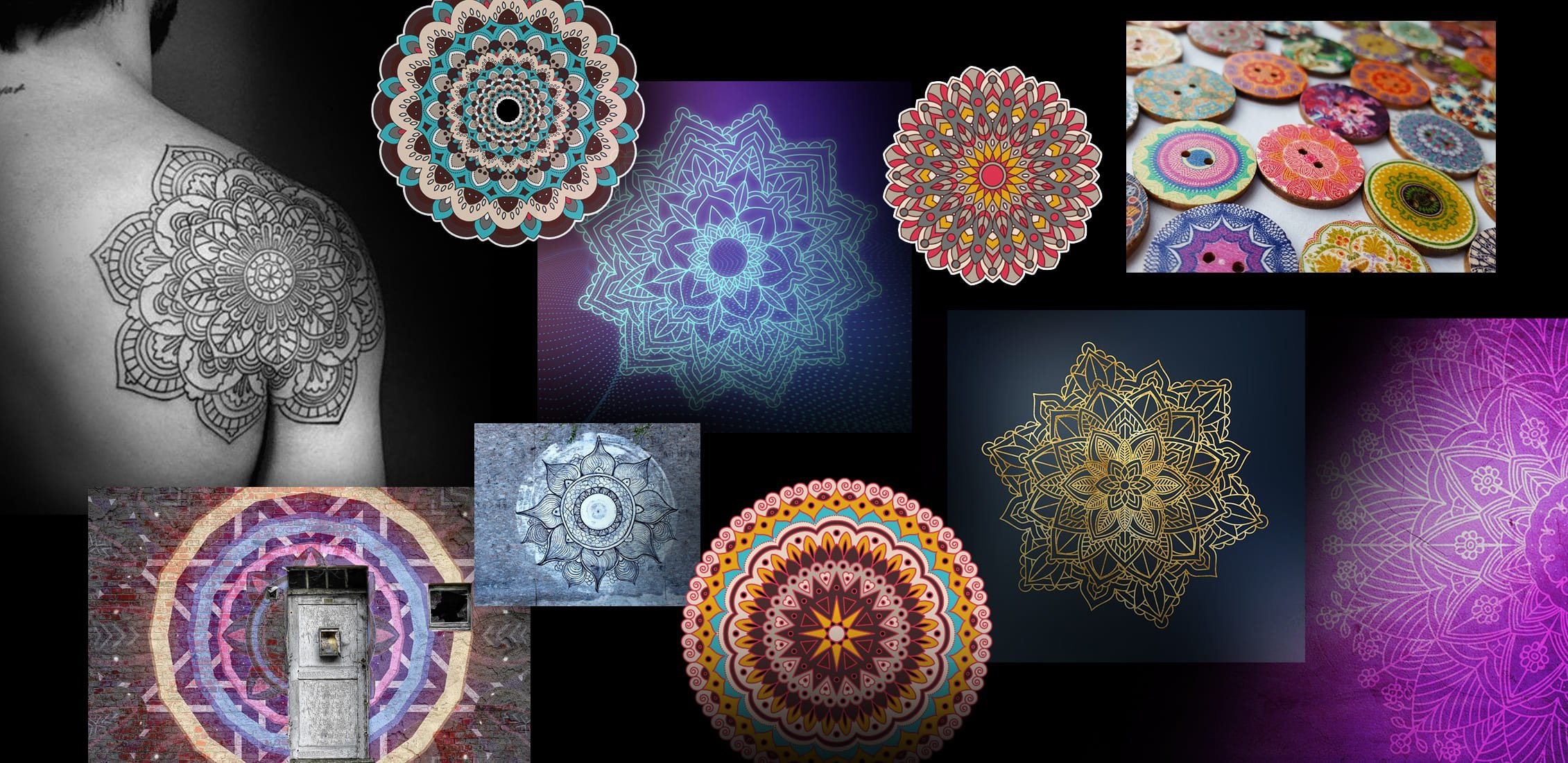 A selection of multicolored mandala designs. An example of how a mandala tattoo looks on a man's shoulder.