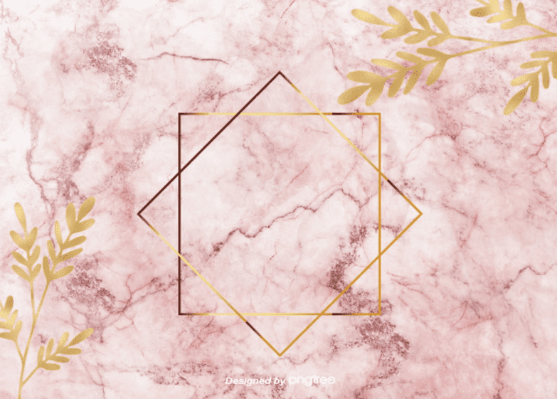Marble pink background with golden branches and two intersecting squares.