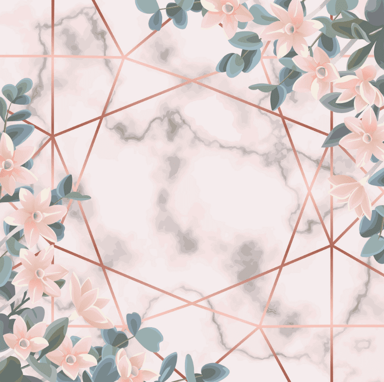 Marble white background that is crossed by golden pink lines, and pale pink flowers.