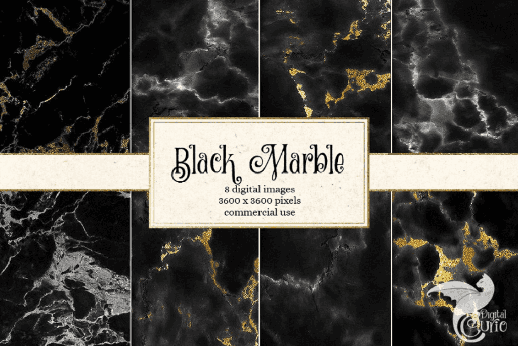 Dark marble backgrounds with golden and grayish veins of different saturation.