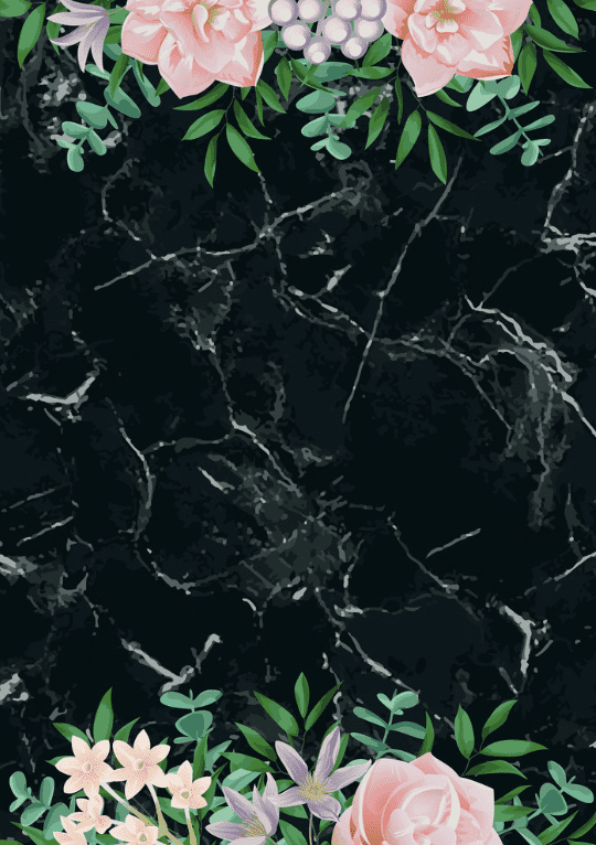 Black marble background with white veins, framed with large painted flowers.