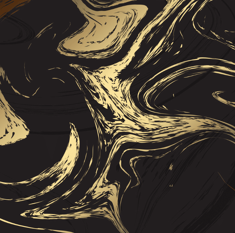 Black marble background with golden wavy patterns.