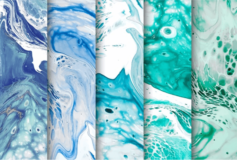 Liquid marble backgrounds of rich blue, mazarine, emerald green, and the color of the sea wave.